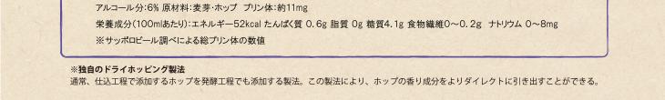 アルコール分:6% 原材料:麦芽・ホップ プリン体:約11mg / 栄養成分(100mlあたり):エネルギー52kcal たんぱく質 0.6g 脂質 0g 糖質4.1g 食物繊維 0〜0.2g ナトリウム 0〜8mg / ※独自のドライホッピング製法 / 通常、仕込工程で添加するホップを醗酵工程でも添加する製法。この製法により、ホップの香り成分をよりダイレクトに引き出すことができる。