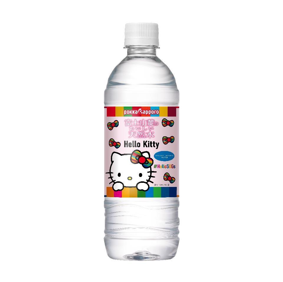 【3ケース】富士山麓のおいしい天然水リサイクルペットボトル(525ml) ~サンリオオリジナルプレート付き~