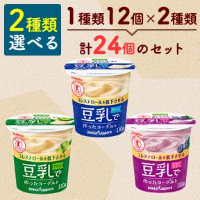 ◆クール便◆【選べる2種/24個】ソヤファーム 豆乳で作ったヨーグルト選べるセット